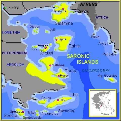 Mapa da ilhas Saronicas