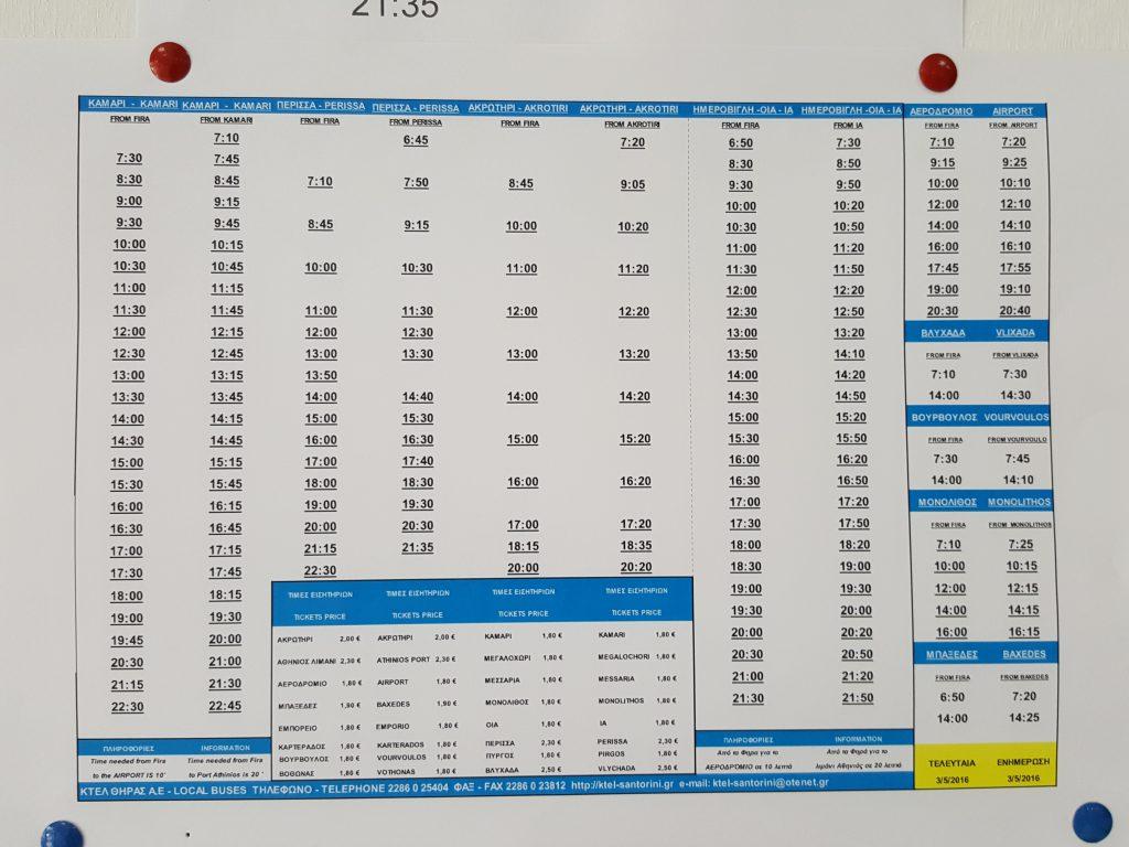 Tabela de horário de ônibus local