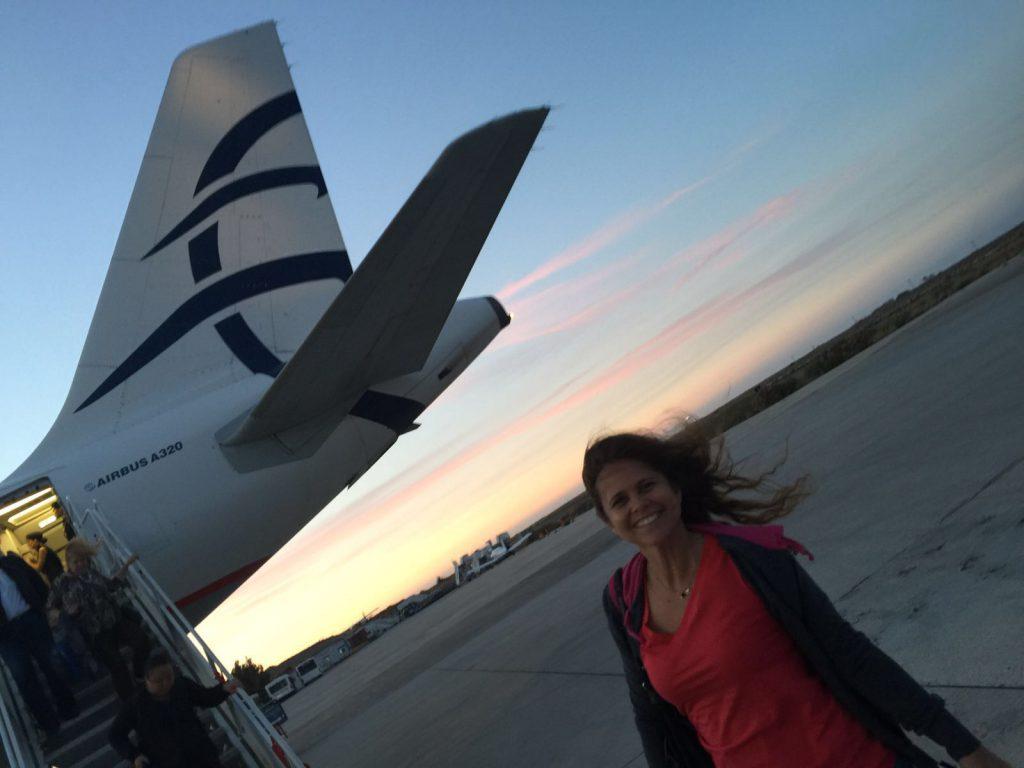 De avião para Santorini